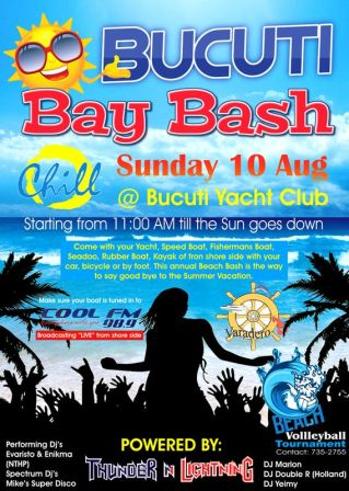 "Diadomingo awo, 10 di Augustus Tin Cos Bucuti Yacht Club ""Bay Bash"""